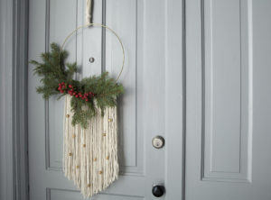christmas spruce wreath with macrame rope