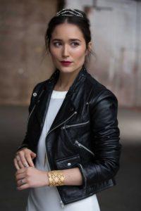 black leather jacket on bride with unique minimal tiara